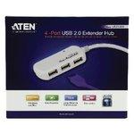 Actieve USB 2.0 Verlengkabel USB A Male - 4x USB-Hub 12 m Ivoor