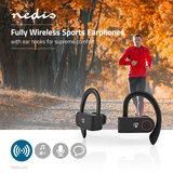 Nedis | Volledig draadloze Bluetooth®-sport oordopjes | 8 uur afspeeltijd | Oorhaakjes | Spraakbediening | Charging case | Zwart_