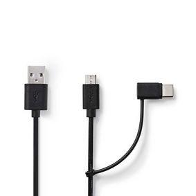 2-in-1 sync- en oplaadkabel   USB-A Male - USB micro-B / Type-C Male   1,0 m   Zwart