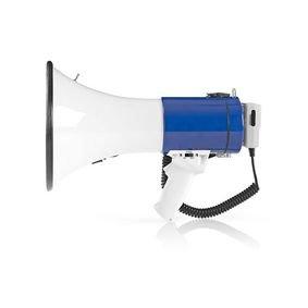 Megafoon | 25 W | Bereik van 1500 m | Afneembare Microfoon | Wit/Blauw