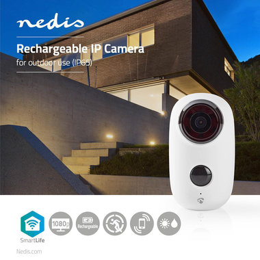 Nedis | Oplaadbare IP-Camera | voor Buiten | PIR Bewegingssensor | microSD | 6000 mAh