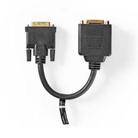 Adapterkabel DVI | DVI-D 24+1-Pins Male - DVI-D 24+1-Pins Female + HDMI-uitgang | 0,2 m | Zwart