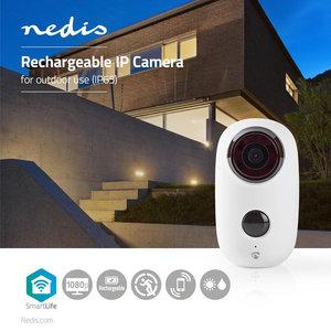 Nedis   Oplaadbare IP-Camera   voor Buiten   PIR Bewegingssensor   microSD   6000 mAh