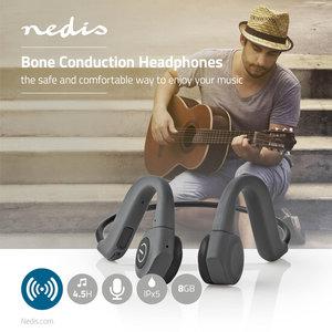 Nedis | Bone Conduction Hoofdtelefoon | Afspeeltijd 6,5 Uur | Bluetooth®-Verbinding | 8 GB Intern Geheugen | Grijs